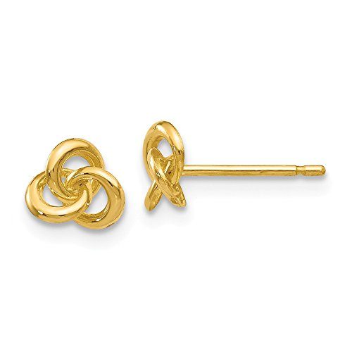 14k Yellow Gold Trinity Irish Celtic Knot Post Studs Earrings 5mm