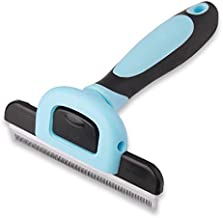 Pets First Professional Pet Brush - Grooming & Deshedding Tool for Cats & Dogs - Reduces Shedding, Dead Hair, Tangles - Detachable Stainless Steel Comb for Easy Cleaning - Soft Anti-Slip Handle