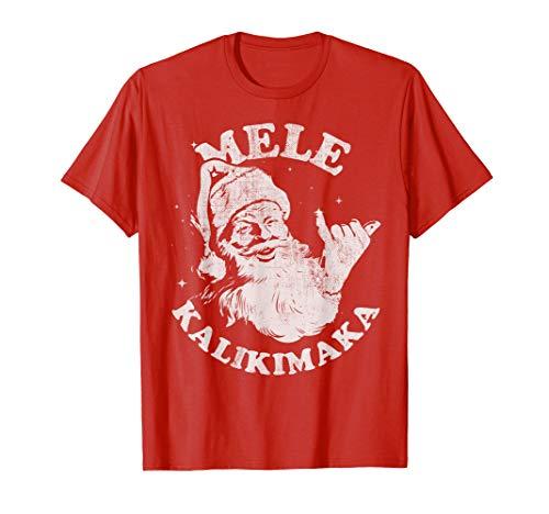 Retro Christmas Mele Kalikimaka Santa Shaka Hawaii T-Shirt