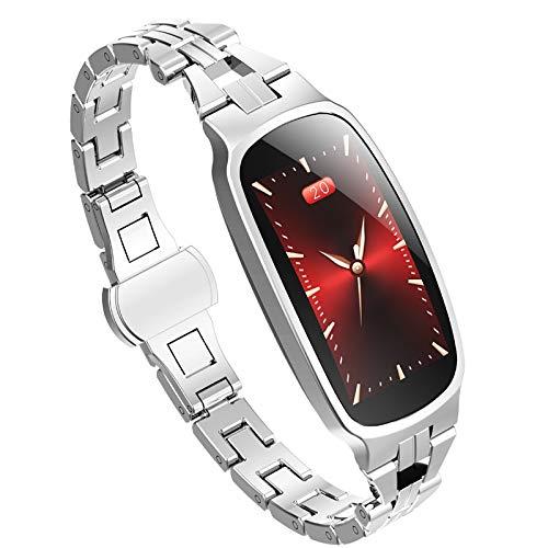 Dames Sport Smart Horloge Roestvrij Stalen Band Hartslag Bloeddrukmeter Fitness Tracker Bluetooth Slimme Armband