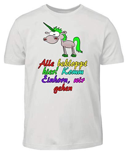 ROCK-WITCHES Dulce Unicornio Tshirt-Spruch. Ven Unicornio, Vamos Porque Todos están Apretados. Divertida Camiseta para niños. Gris Ceniza (mezclada). 110 cm/116 cm