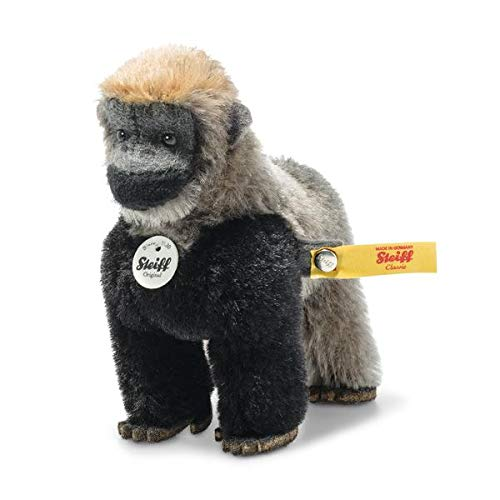 Steiff 033582 Kuscheltier Gorilla Boogie grau schwarz 11 cm National Geographic inkl. Box Plüschtier Stofftier Baby Kinder Spielzeug Mohair