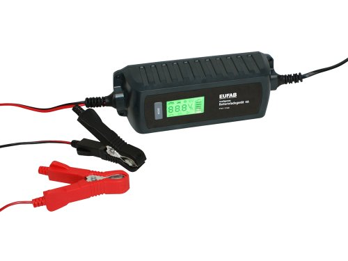 EUFAB 16614 Intelligentes Batterieladegerät 6/12V 4A, Black