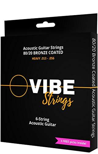VIBE Strings Acoustic Guitar Strings, 80/20 Bronze Coated Acoustic Strings Heavy (.013-.056), 1 Set