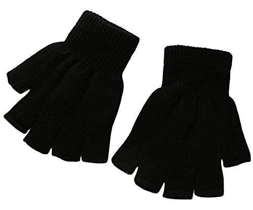 X&F Boys' and Girls' Solid Knitted Half Finger Mittens Typing Gloves, Small, Black