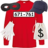 Shirt-Panda Herren Langarm Panzerknacker Kostüm + Cap + Maske + Handschuhe Verkleidung Karneval...