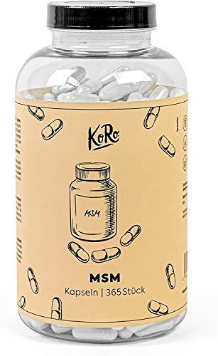 KoRo® - MSM Kapseln 800mg reines MSM pro Kapsel -365 Stück - hohe Bioverfügbarkeit - Vegan