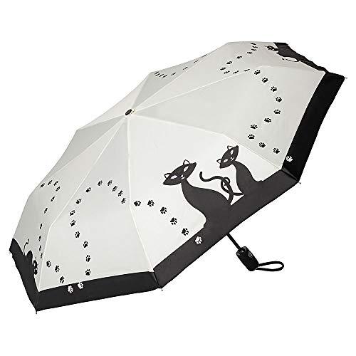 VON LILIENFELD Regenschirm Taschenschirm Schwarze Katzen Stabil Leicht Auf-Zu-Automatik Damen Kätzchen