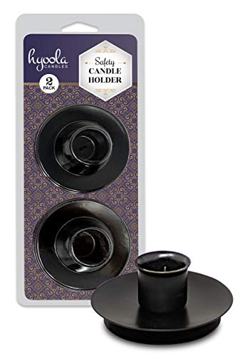 Hyoola Candle Drip Protectors - Reusable Metal Safety Candle Holder - Pin Holds Candles in Place - for 3/4 inch Diameter Candle - Black - 2 Pack