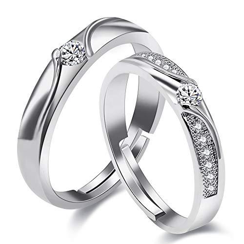 Uloveido Platino Plateado Creado Diamante Pareja Infinity Anillos Set para compromiso de boda Joyas Promesa, Mujeres y Hombres Anillos de tamaño ajustable Set con Cubic Zirconia LB026
