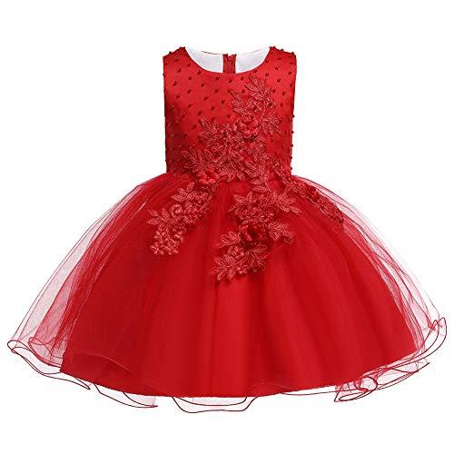 Valin Vestido de tul para niña con flores C181 rojo 140
