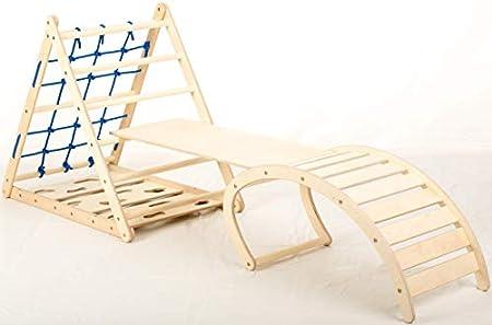 Affenling Set – dreiseitiges Kletterdreieck (87 cm) mit Rutsche & Wippe