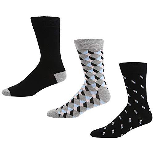 Ben Sherman Herren Charter Party Socken, Mehrfarbig (Black Stripe/Black/Grey Tile 3PKA), 7/10/2019 (Herstellergröße: 7-11) (3er Pack)