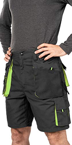 Verano Pantalones Cortos de Trabajo para Hombre, Multibolsillos, Bermudas de Trabajo, Tamaño S - 3XL, Corto de Trabajo, Cargo Shorts, Resistente Ropa de Trabajo (XL, Negro/Verde) (Talla Fabricante 56)