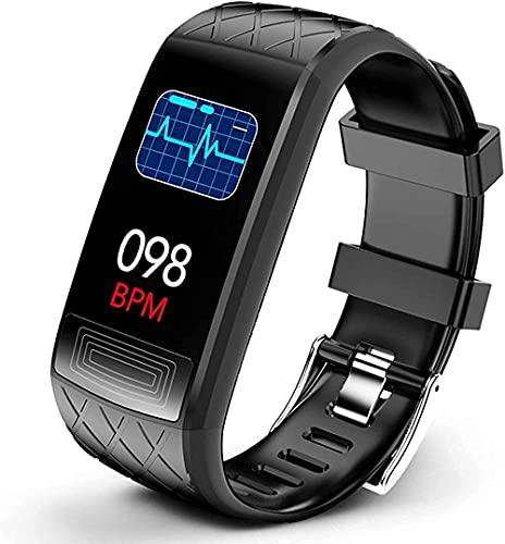 YLB Smart Watch Fitness Tracker con monitor de frecuencia cardíaca y presión arterial Spo2 pulsera inteligente podómetro IP67 impermeable para Android iOS (color negro)