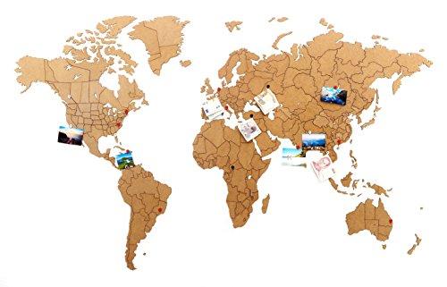 MiMi Innovations - Wereldkaart True Puzzle Wall - Hoogwaardig houten wereldkaart - Muurschilderingen/Muursticker - 100 x 60/150 x 90 cm - Zwart/Bruin/Base Bruin: 150 x 90 cm