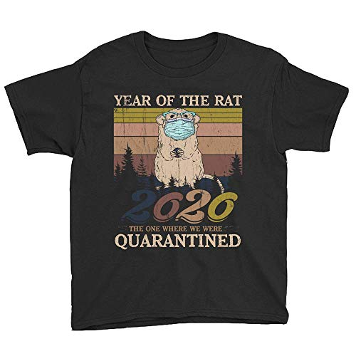 Vintage Year of The Rat 2020 The One Where We were Quarantined Youth T-Shirt Novelty Funny Graphics Short Kid Unisex Tee Shirts