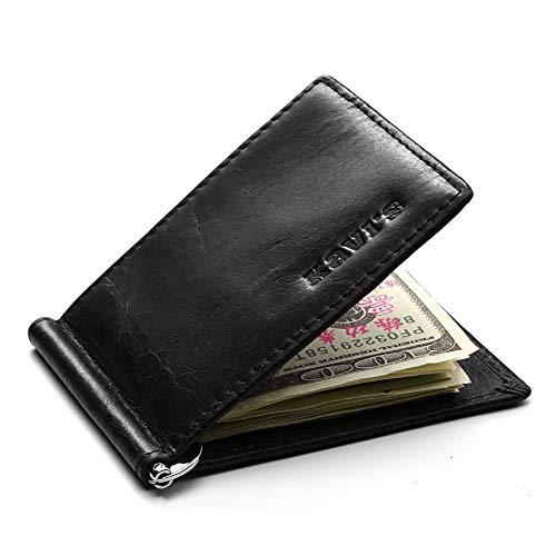 Yehyep Porta Tarjetas de crédito de Cuero Genuino, Tarjeta Minimalista RFID Que bloquea Las Carteras de los Hombres Delgados Estuche para Tarjetas de débito y crédito