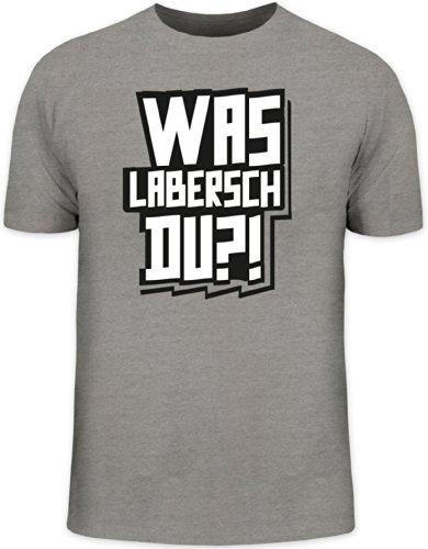 Shirtstreet24, WAS LABERSCH DU?! Herren T-Shirt Fun Shirt Funshirt, Größe: L,Graumeliert