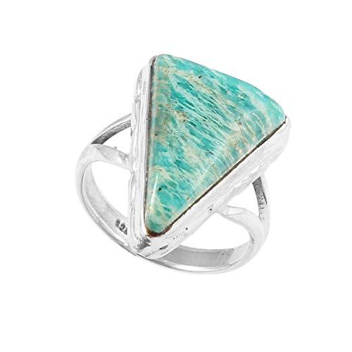 Anillo de plata de Amazonita, triángulo de piedra verde, varios tamaños disponibles, idea de regalo