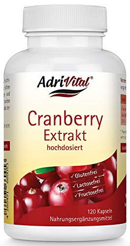 AdriVital Cranberry Kapseln hochdosiert, aus Extrakt 25:1 entspricht 10.000 mg reine Frucht pro Kapsel, vegan, glutenfrei, lactosefrei, 120 Kapseln