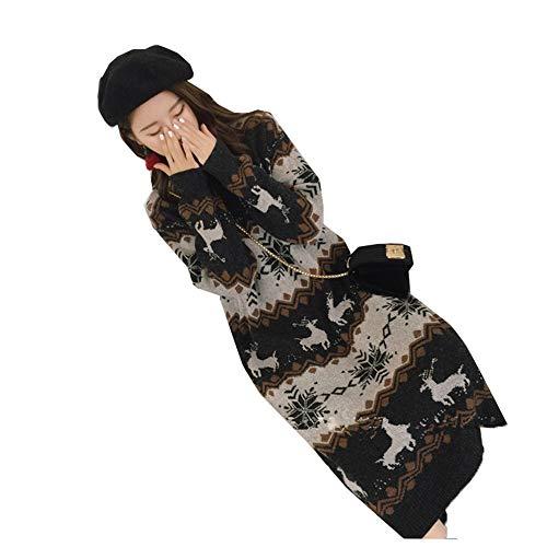 gumeng Neue Kleid koreanische Version der Flut lose Weihnachten Pullover weiblichen Langen Abschnitt über das Knie Sätze von Strickrock Mantel grau Code