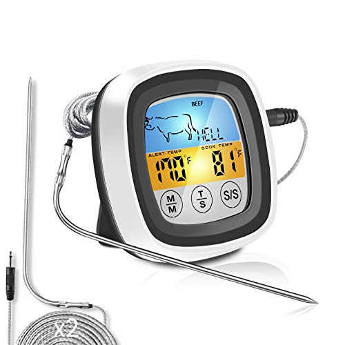 Meat Thermometer | Digital Instant Read Food Thermometer | Grill, Smoker, BBQ, Kitchen, Oven, Candy Thermometer for Cooking, Grilling, Smoking with 2 Temperature Probe & Touch Screen LCD Display