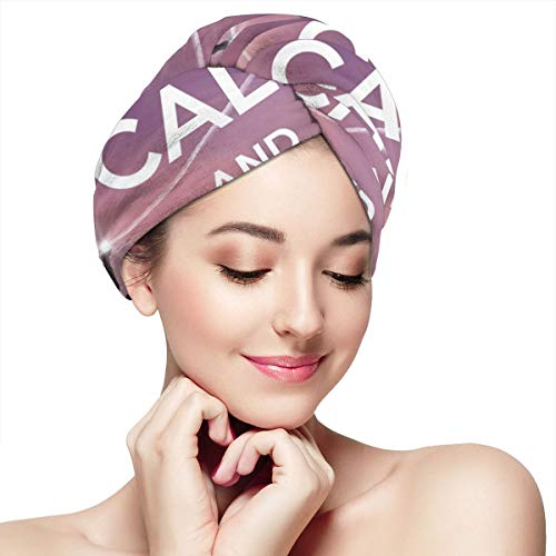 Keep Calm and Happy Birthday Microfiber Dry Hair Cap for Bath Spa Soft Super Absorbent Quick Drying Towel Wrap Wet Hair Turbans 28 inch X 11 inch