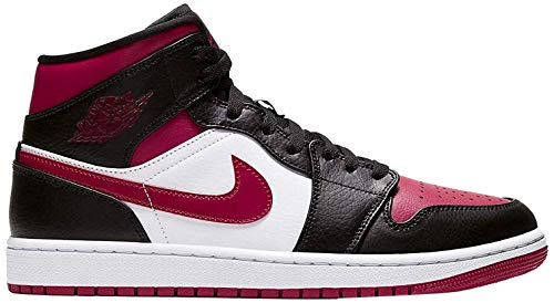 Nike Air Jordan 1 Mid, Scarpe da Basket Uomo, Black/Noble Red/White, 45 EU
