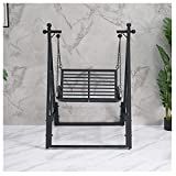 E_W__NWN Swing Chair Nordic Iron Art Swing Rocking Chair Home Outdoor Swing Hanging Chair Balcony Rocking Chair for Terrace Balcony Garden (Size:37.0×35.0×77.1In) (Color : White)