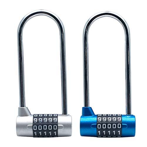 Tinmovys 2pcs 4.6 Inch Long Shackle Combination Lock 5 Digit U-Lock Resettable Padlock for School, Employee, Gym & Sports Locker, Gate Case, Toolbox, Fence, File Cabinets (Silver + Blue)