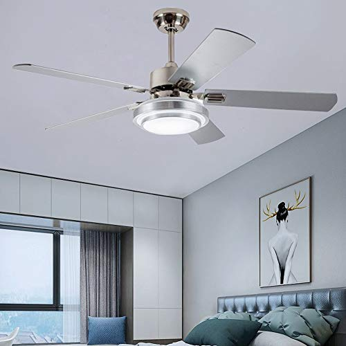 """Andersonlight Fan 48"""" LED Indoor Stainless Steel Ceiling Fan with Light and Remote Control Ceiling Fans"""