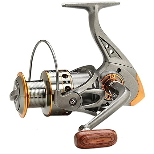 XHLLX Carrete de Spinning de Pesca de Agua Salada de Spinning Carrete de Metal 5.2: 1 Handshake de Madera 13Bb rodamientos de Bolas Pesca en Tierra,Gris,3000