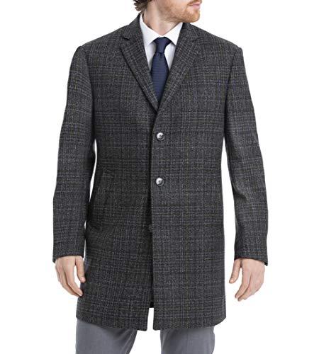 Calvin Klein Men's Slim Fit Wool Blend Overcoat Jacket, Grey Windowpane, 38R