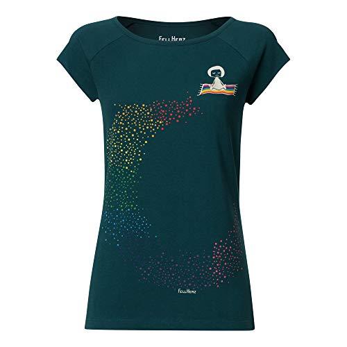 FellHerz Ommm petrol - M - süßes Damen T-Shirt aus 100% Bio-Baumwolle organic cotton fair nachhaltig bunt Fee fliegender Teppich bunt Regenbogen