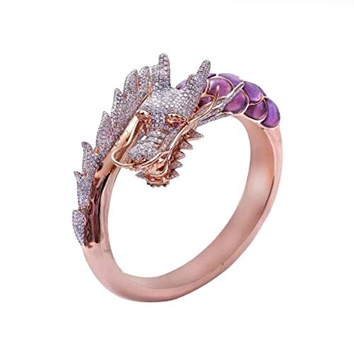 HSQYJ Dragon Ring Devil Tail Arrows Enamel Crystal Rings Gothic Dragon Engagement Anniversary Party Statement Rings Simple Fashion Creative Jewelry for Women Men Gift Plated Rose Gold (8)