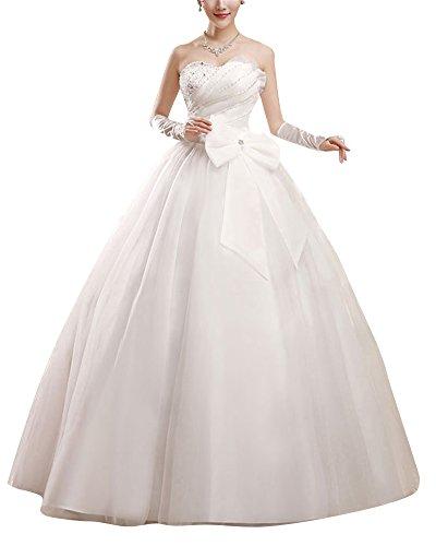 Damen Elegant Spitze Ärmellos Kristall Perlen Prinzessin Hochzeitskleid Brautkleid Bandeau Kleid Beige L