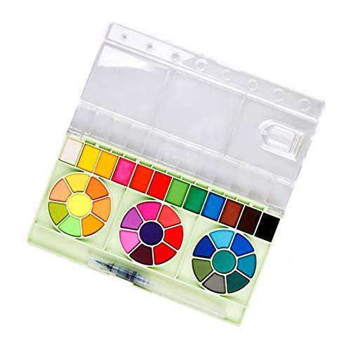 Zwbfu 36 cores pigmento de tinta aquarela sólida desenho portátil conjunto de pintura com um pincel de água material de arte para artistas iniciantes estudantes criançasConjunto de tintas aquarelas