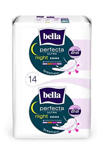 bella Perfecta Ultra Binden Night 7x 14 Stück mit Flügeln, zur Nacht, Parfümfrei und Atmungsaktiv