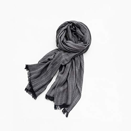 Fular para Hombre Los Hombres de la Bufanda de Invierno, a Cuadros con Flecos cómodo Suave y Gruesa Bufanda de algodón es un Regalo for los Padres el día de Acción Bufandas (Color : Black)