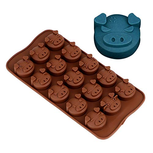 Generic Soap Candy Fondant Mold Funny Pig Shaped 3D Silicone Chocolate Mold Sugarcraft DIY Cookies Cake Decorating Tools 15 Holes