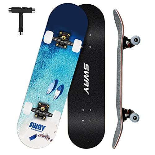 VOMI Skateboard Completo, 79 x 20,5 cm 7 Capas Monopatín de Madera de Arce Tabla Doble Patada Patineta para Principiantes, Skateboard para Niñas Niños Adolescentes Adultos