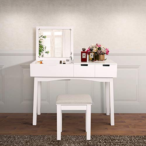 JIASTING 39.17inch Vanity Dressing Table Set with Flip Top Mirror Makeup Table Writing Desk, 2 Drawers 1 Large Storage Space with Drop Organizers, Cushioned Stool Easy Assembly