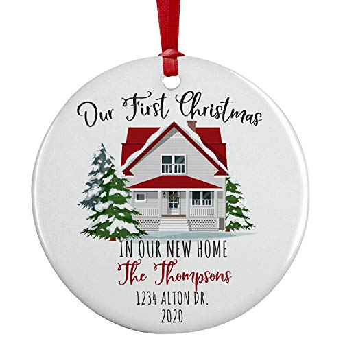 Our First Christmas, Personalized New Home Christmas Ornament w/ Your Address, Last Name, Date, Custom 3' Ceramic, Round 2020 Xmas Ornament, First Christmas Decoration Gift for Couples, Family D#2