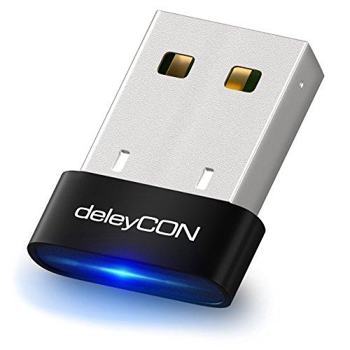 deleyCON Adaptador Bluetooth USB 4.0 de Tecnología Plug & Play Modo EDR a 3 Mbit/s - Windows 10 Compatible - Negro