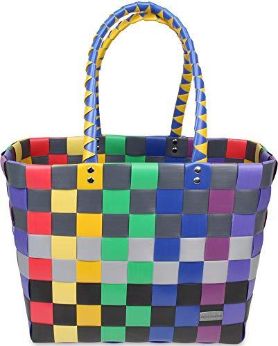 normani Einkaufskorb Shopper geflochten aus Kunststoff - robuster Strandkorb aus wasserabweisendem Material Farbe Classic/Rainbow