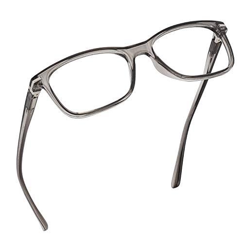 Anteojos de lectura con bloqueo de luz azul, protección UV y lentes antirreflectantes, bisagra de resorte, anteojos de lectura para computadora, modernos (carbón, aumento 1.00)
