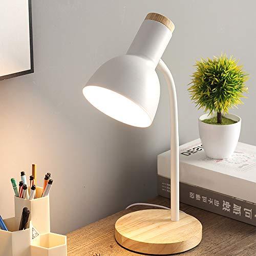 Chao Zan Lámpara de Escritorio,LED lámpara de Mesa Madera flexo nórdica de metal vintage retro Lámpara de mesa Con interruptor para sobremesa Oficina,Sala,Estudio y Dormitorio,Blanco E27