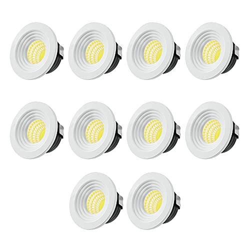 Downlight Led Empotrable, 3W Foco Empotrable LED Mini Downlight de Techo con Transformador para Gabinete de Vino, Gabinete de Joyería, 10PCS