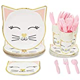 Cat Themed Party Packs for Birthday Party Supplies (White, Gold Foil, Serves 24)